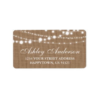 Rustic Burlap and String Lights Label