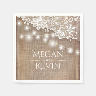 Rustic Burlap and String Lights Lace Wedding Paper Napkin