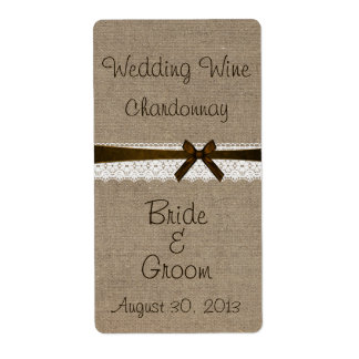 Rustic Burlap and Vintage Lace Wedding Wine Label Shipping Label