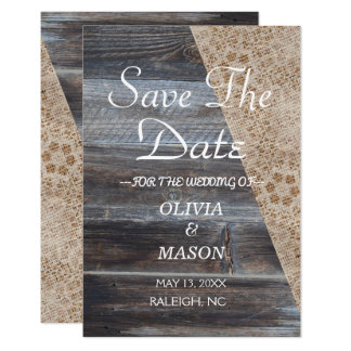 Rustic Burlap and Wooden- Save the Date Card