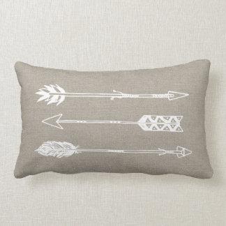 Rustic Burlap Arrows Throw Pillows