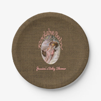 Rustic Burlap Baby Shower   Coral Pink Lullaby Paper Plate