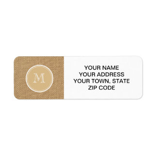 Rustic Burlap Background Monogram Return Address Label