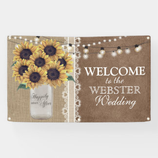 Rustic Burlap Barn Wedding Sunflower Mason Jar Banner