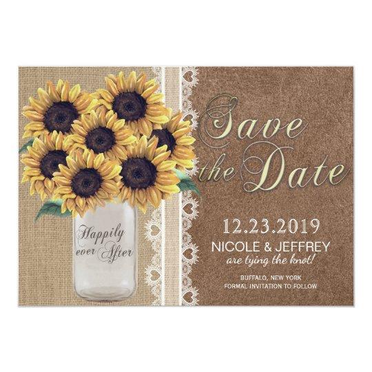 Rustic Burlap Barn Wedding Sunflower Mason Jar Card