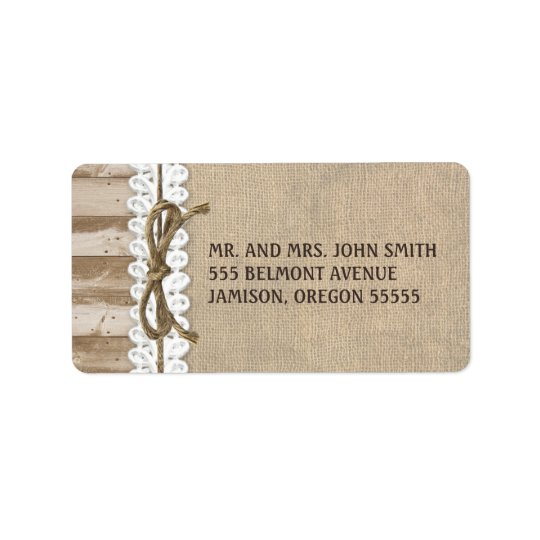 Rustic Burlap Barn Wood Twine Address Labels
