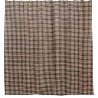 Rustic Burlap Basket Weave Pattern Shower Curtains