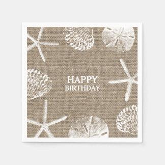 Rustic Burlap Beach Theme Seashells Birthday Disposable Napkin