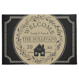 Rustic Burlap | Black Wreath House WELCOME Name Doormat