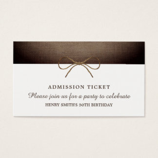 Rustic Burlap Bow, Admission Ticket
