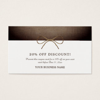 Rustic Burlap Bow, Coupon Voucher Business Card