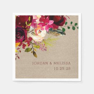 Rustic Burlap Burgundy Floral wedding napkins Paper Napkins