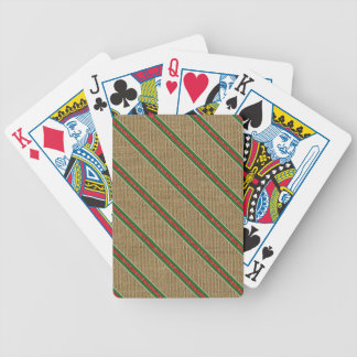Rustic Burlap Candy Cane Bicycle Playing Cards