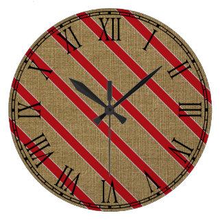 Rustic Burlap Candy Cane Clocks