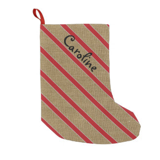 Rustic Burlap Candy Cane Custom Stocking