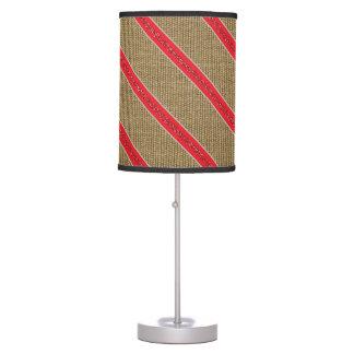 Rustic Burlap Candy Cane Desk Lamp