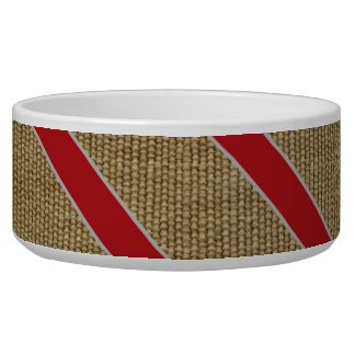 Rustic Burlap Candy Cane Dog Bowl