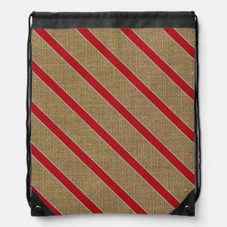 Rustic Burlap Candy Cane Drawstring Bag