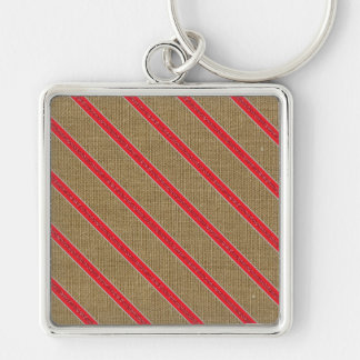 Rustic Burlap Candy Cane Keychain