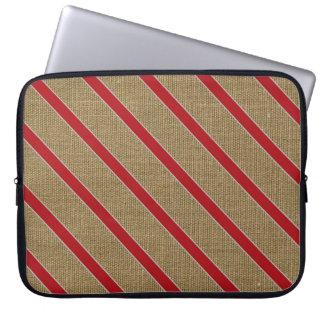 Rustic Burlap Candy Cane Laptop Sleeve