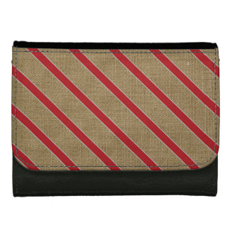 Rustic Burlap Candy Cane Leather Wallet For Women