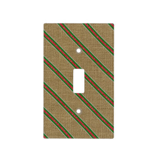 Rustic Burlap Candy Cane Light Switch Cover