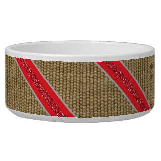 Rustic Burlap Candy Cane Pet Food Bowl