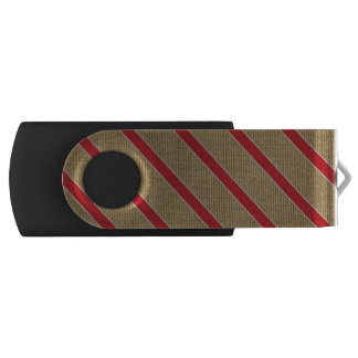 Rustic Burlap Candy Cane Swivel USB 3.0 Flash Drive