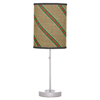 Rustic Burlap Candy Cane Table Lamp