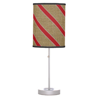 Rustic Burlap Candy Cane Table Lamps