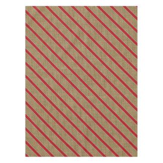 Rustic Burlap Candy Cane Tablecloth