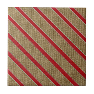 Rustic Burlap Candy Cane Tile
