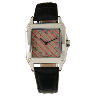 Rustic Burlap Candy Cane Wristwatches