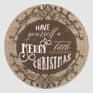 Rustic burlap christmas stickers