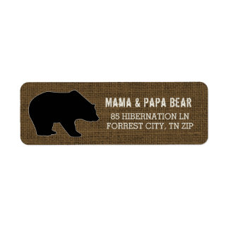 Rustic Burlap | Country Black Bear Silhouette