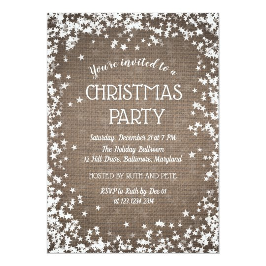 Rustic Burlap Country Christmas Party | Stars Card