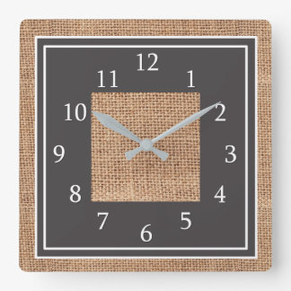Rustic Burlap Country Farmhouse Square Wall Clock