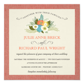 Rustic Burlap Country Wedding Invitations