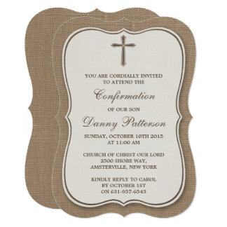 "Rustic Burlap Cross Holy Communion Or Confirmation 5"" X 7"" Invitation Card"