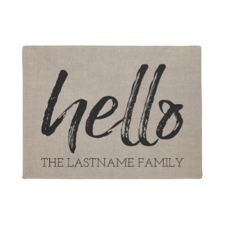 Rustic Burlap - Custom Family Hello Greeting Doormat