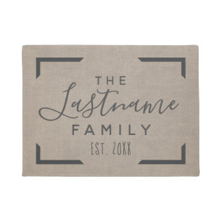 Rustic Burlap - Custom Family Welcome Doormat