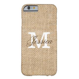 Rustic Burlap Custom Monogram Barely There iPhone 6 Case