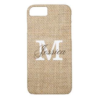 Rustic Burlap Custom Monogram iPhone 7 Case