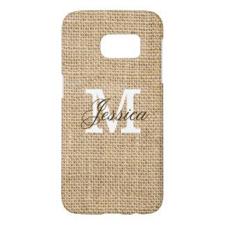 Rustic Burlap Custom Monogram Personalized Name Samsung Galaxy S7 Case