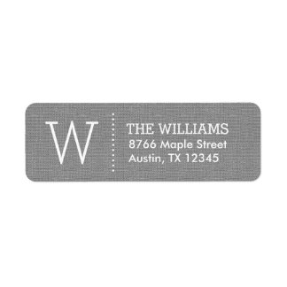 Rustic Burlap Custom Monogram Return Address Label