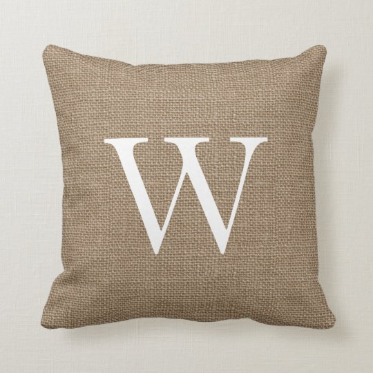 Rustic Burlap Custom Monogrammed Throw Pillows Zazzle.ca