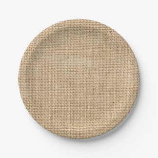 Rustic Burlap Custom Party Paper Plates