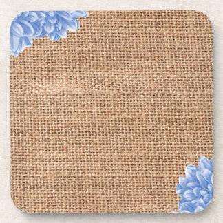 Rustic Burlap Dahlia Beverage Coasters