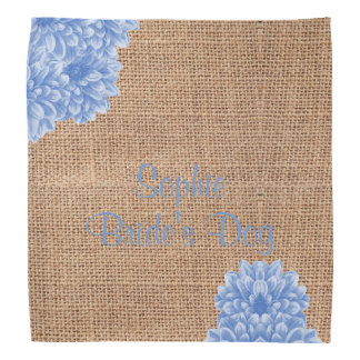 Rustic Burlap Dahlia Custom Pet Wedding Accessory Bandana