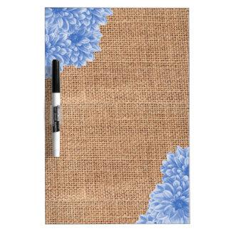 Rustic Burlap Dahlia Dry Erase Board